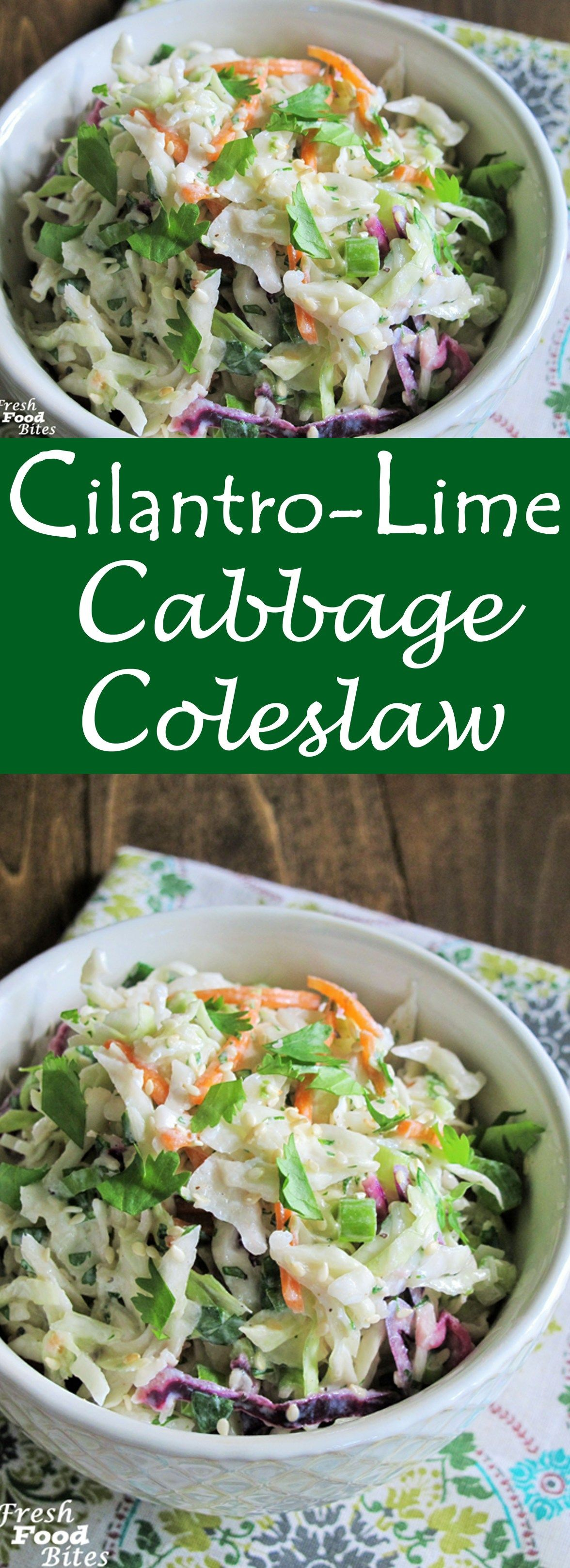Bright, tangy fresh flavor abounds in this crunchy Cilantro-Lime Cabbage Coleslaw for a nice change-up from traditional creamy coleslaw. It's healthy, loaded with veggies, and pairs well with most any recipe you want to serve it with. From fish tacos, to grilled chicken, to shredded smoked pork sandwiches, this coleslaw fits in well for a truly fresh summer salad that is super low in calories. #cilantrolimeslaw