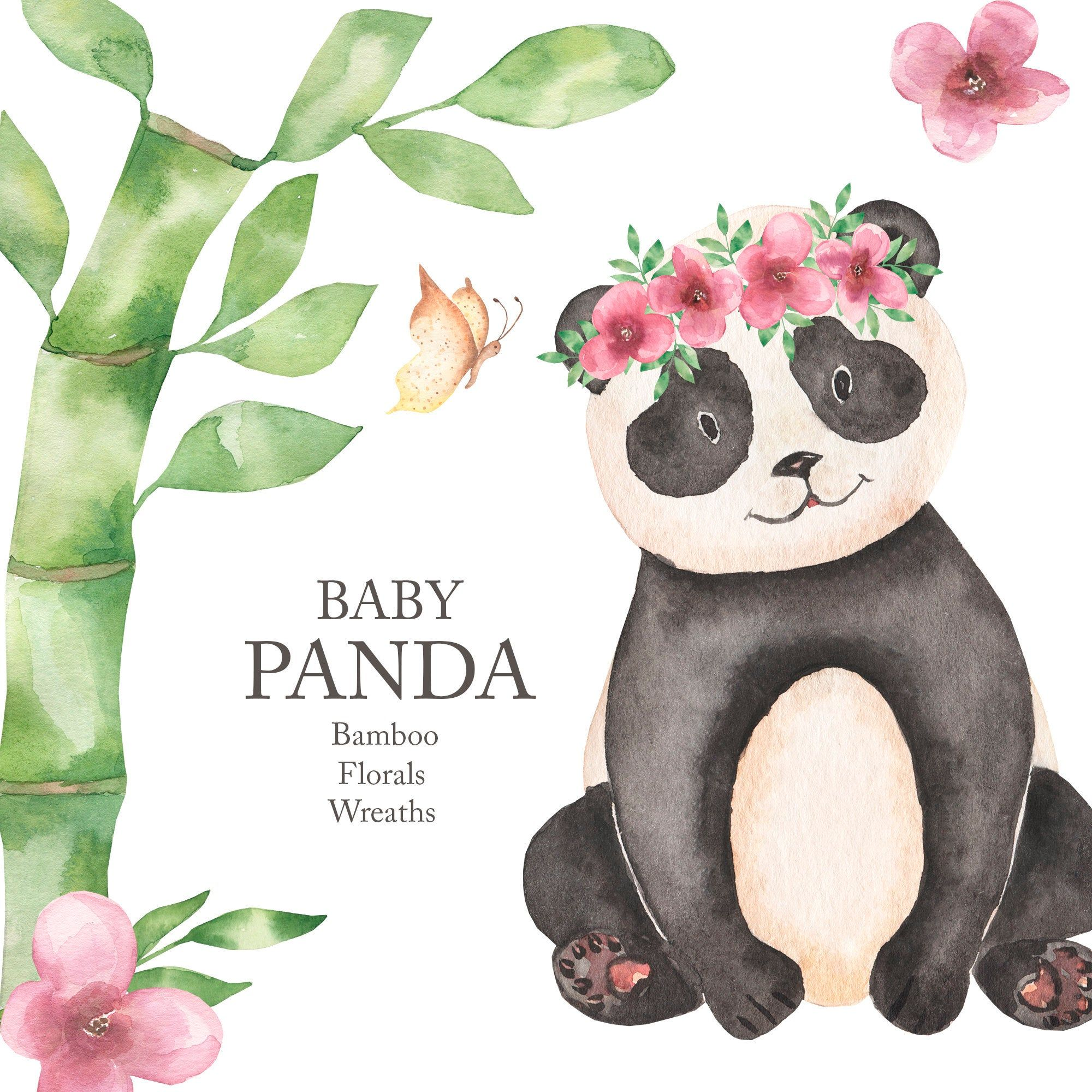 Watercolor Panda Clipart. Cute Baby Bear Forest Animal, Spring floral clipart, baby-shower, birthday party, kids clipart, scrapbook PNG.