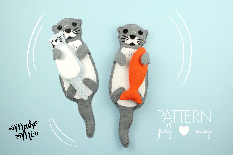 Felt Otter Pattern Felt Otter Sewing Pattern Otter Svg Pattern
