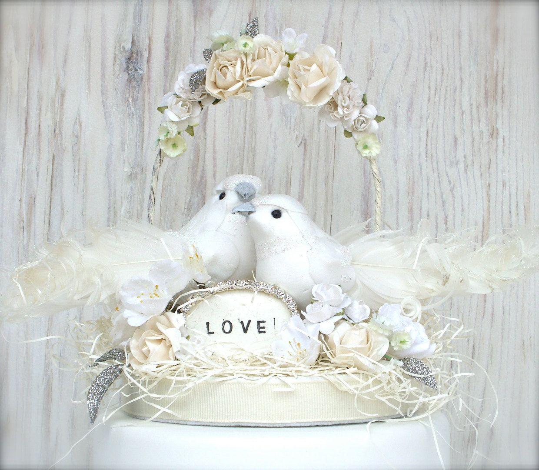 Love Bird Cake Topper , Winter White Wedding Cake Topper, Vintage ...