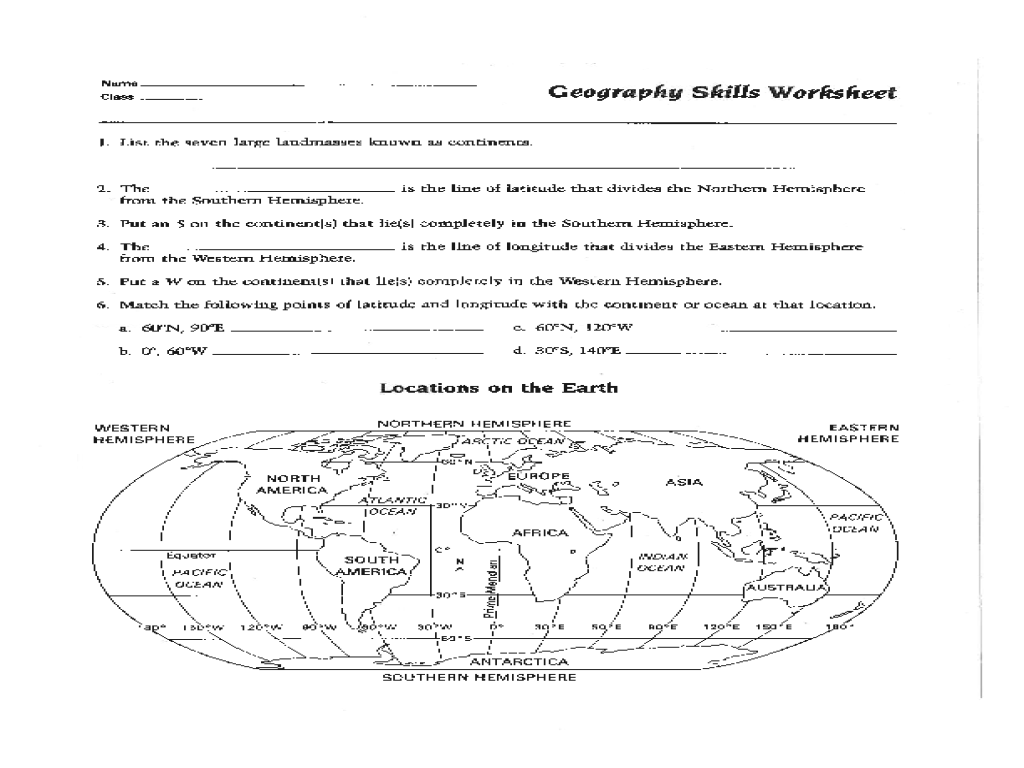 Geography Worksheet 1st Grade
