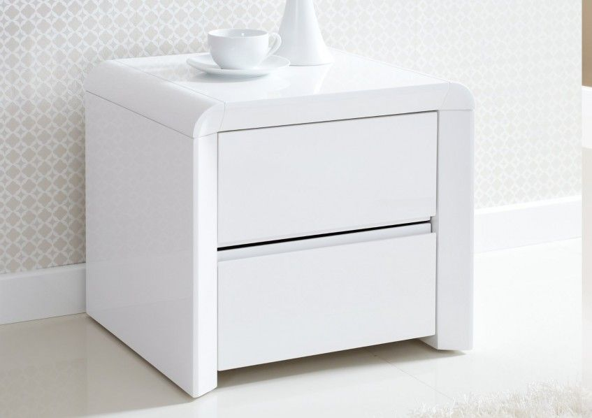 Ice High Gloss 2 Drawer Bedside White Side Tables