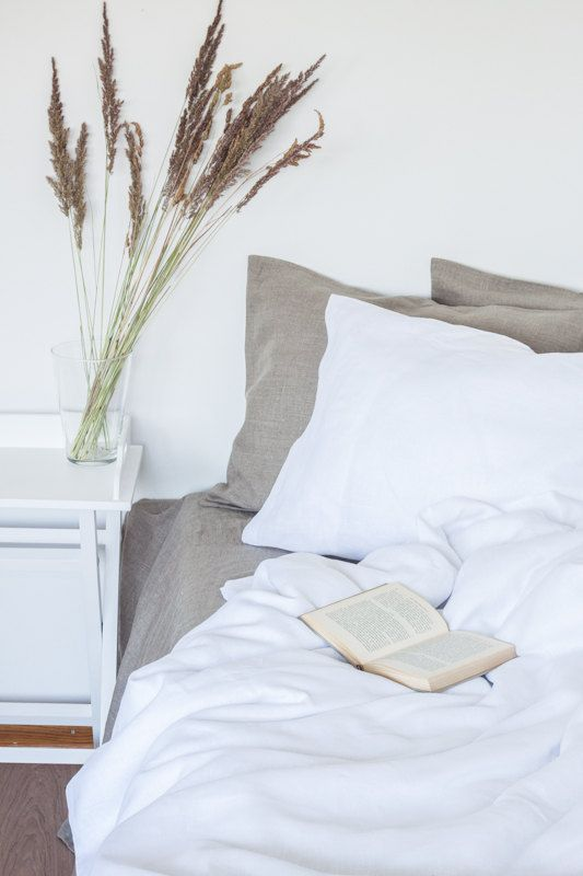 Pure White Linen Bedding Set Custom Size Queen Size By Solinen
