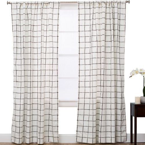 the pillow collection plaid and check semi sheer rod pocket single curtain panel - The Pillow Collection