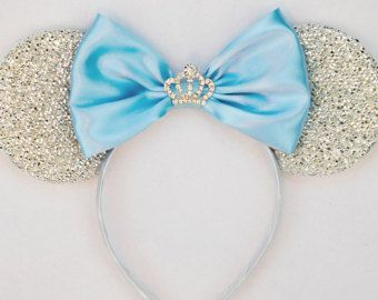 Princess Headband Cinderella Inspired Minnie Ears Minnie Mouse Ears Girls Birthday Headband