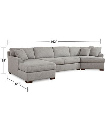 Furniture Closeout Carena 162 3 Pc Fabric Sectional Sofa With