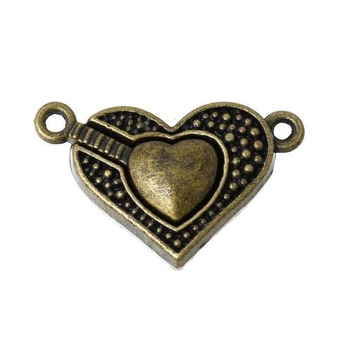 Bronze Heart Magnetic Clasp Hook 25mm Beading Jewelry Supply Finding Vintage