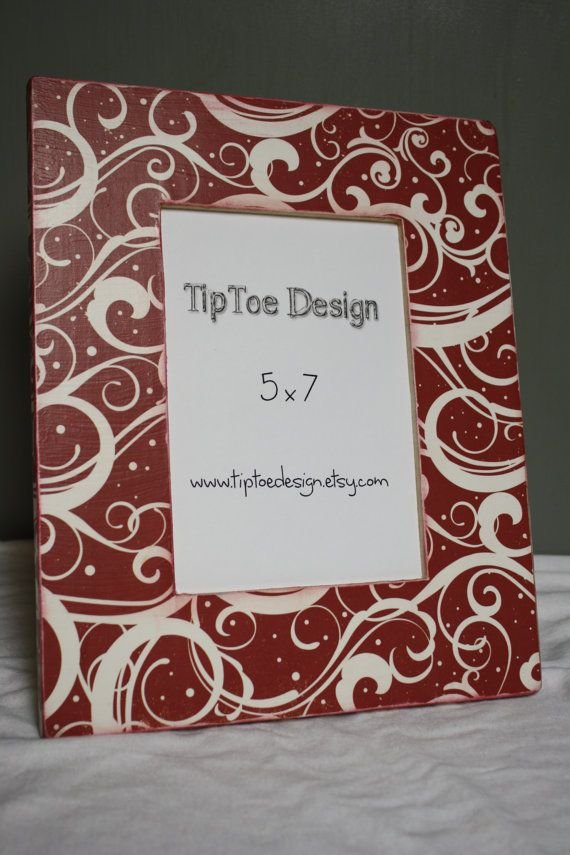 5x7 picture frame with elegant swirls on a red background the paper has been wrapped