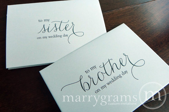 Wedding Card To Your Brother Or Sister Siblings Of The Etsy Groom Card Wedding Note Cards Birthday Gifts For Sister