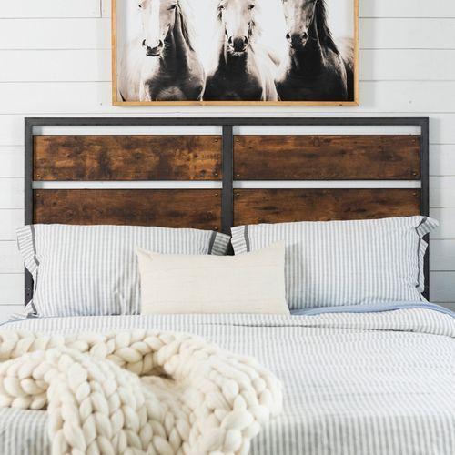 Rustic Metal & Wood Plank Panel Queen Headboard   Queen ...