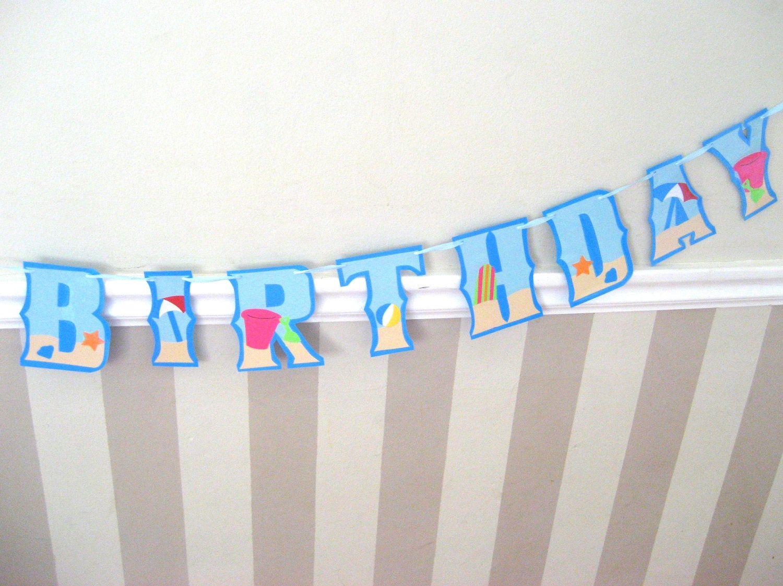 Beach Day Happy Birthday Banner Beach Party Surfing Sand