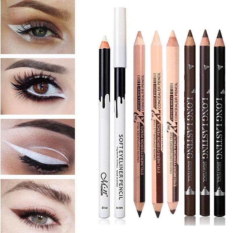 Eyeliner Pencil Waterproof Long Lasting Eye Liner Pen Quality Eyes Mak Sheinstreet Eye Makeup Kits White Eyeliner Pencil White Eyeliner