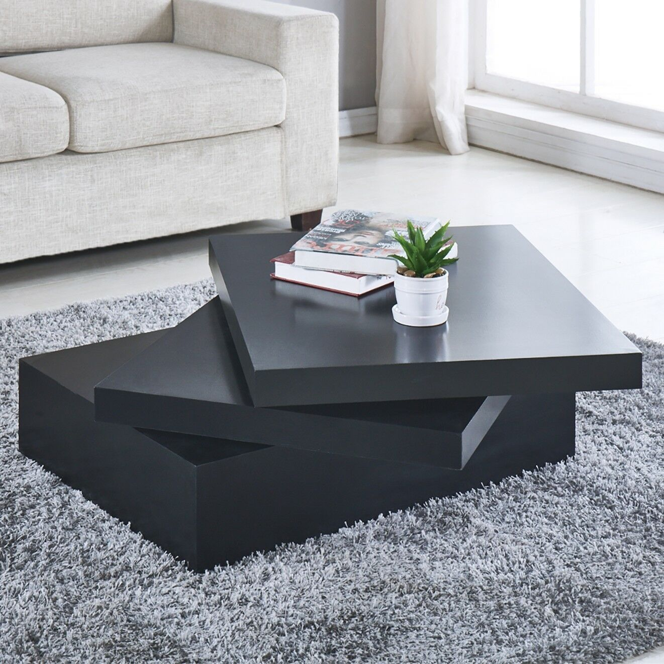 Black Square Coffee Table Rotating Contemporary Modern Living Room Furniture New Ww Contemporary Living Room Furniture Coffee Table Black Square Coffee Table [ 1321 x 1321 Pixel ]