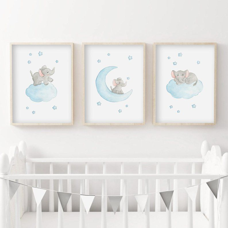 Set 3 Gray Baby Room Poster Watercolor Elephant In The Stars