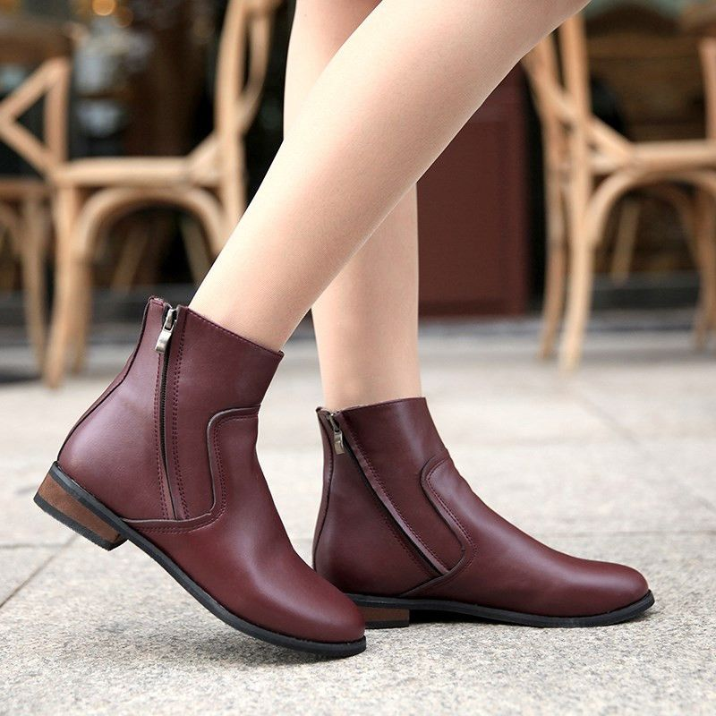 Soft Leather Wedge Boots For Women