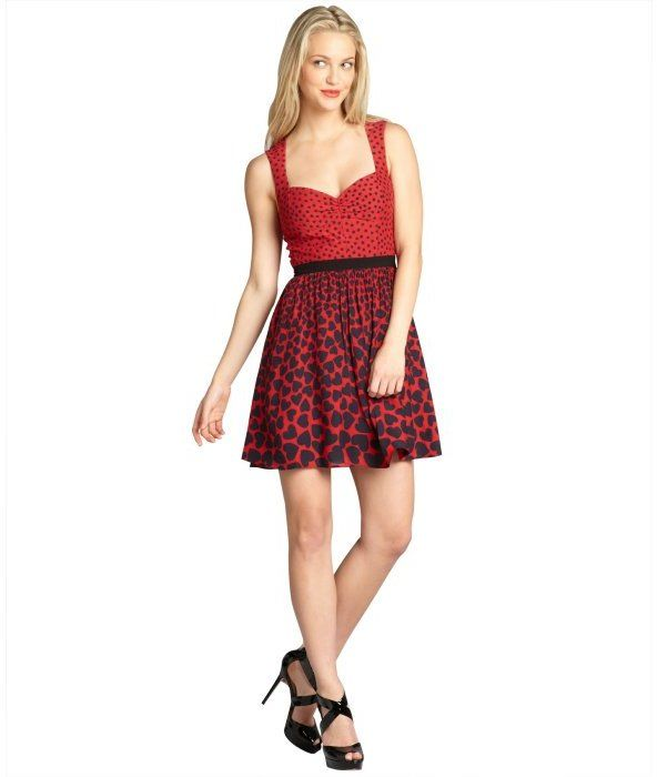 $79, Abs By Allen Schwartz Red Sleeveless Polka Dot And Heart Print Day Dress by ABS by Allen Schwartz. Sold by Bluefly. Click for more info: http://lookastic.com/women/shop_items/106149/redirect
