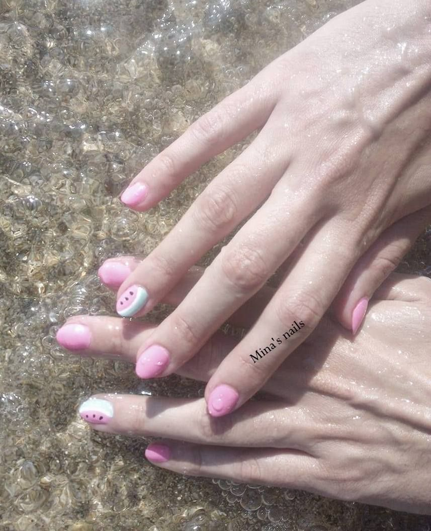 summer nails.. pink and watermelon!!!!!!!!!!!