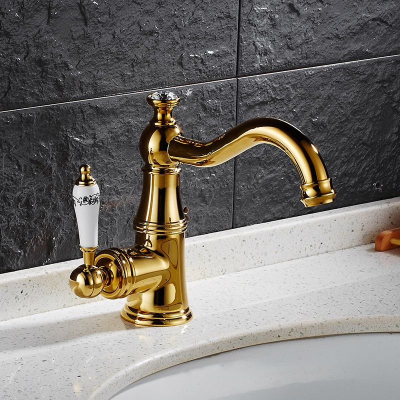 New Fashion Gold Basin Faucet Solid Brass With Diamond Bathroom