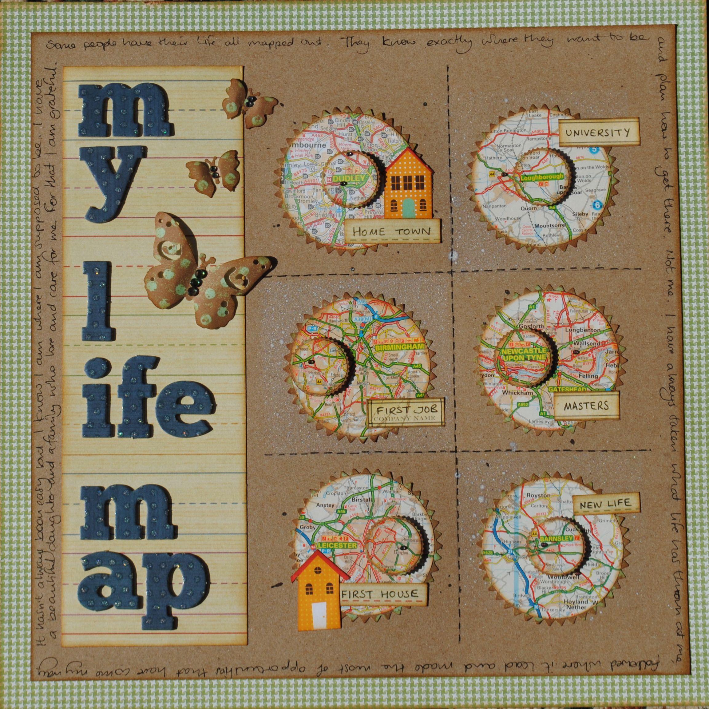 Scrapbook ideas graduation - My Life Map Scrapbook Paperscrapbooking Layoutsfun