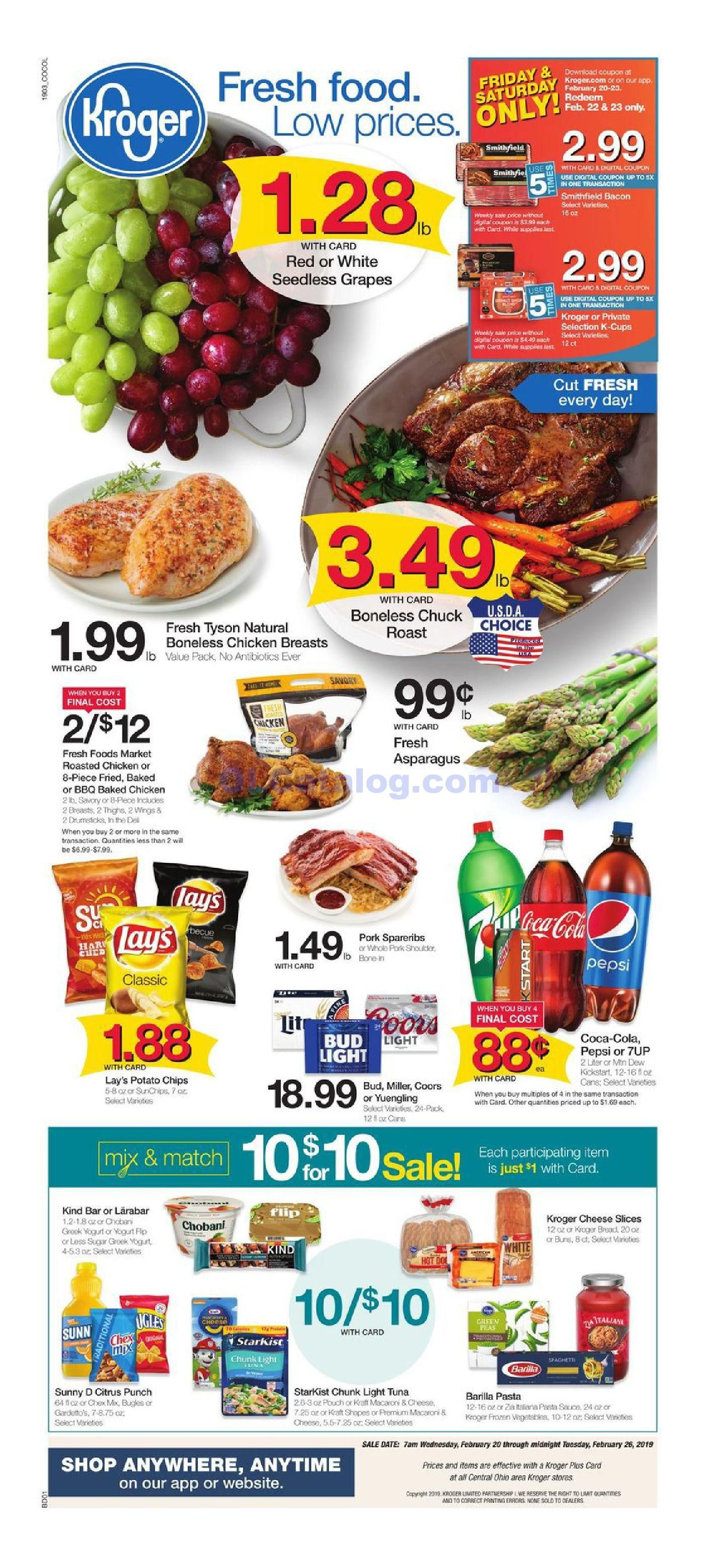 Kroger Weekly Ad February 20 – 26, 2019  Check Latest Kroger