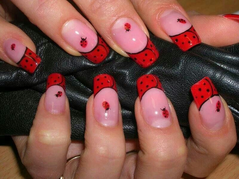 Clear/Red ladybugs dots