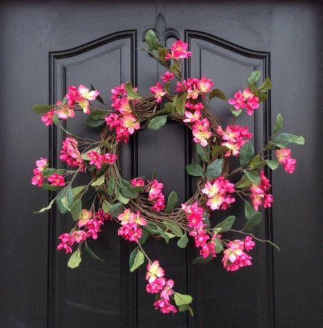 Cherry Blossoms Wreath,Spring Wreath,Door Wreaths, Cherry Trees, Nature's Bounty, Summer Wreaths, Burlap Ribbon,Wreaths