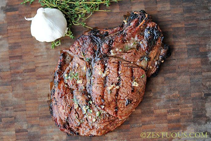 Rib-eye Steaks on the Big Green Egg Recipe Main Dishes with rib eye steaks, soy sauce, worcestershire sauce, steak rub, butter, minced garlic, fresh thyme