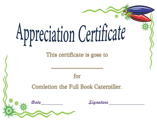 Award certificate template for completing the book certificate you can award a child for appreciation by using this award certificate template for completing the book it is customizable and easily printable yelopaper Images