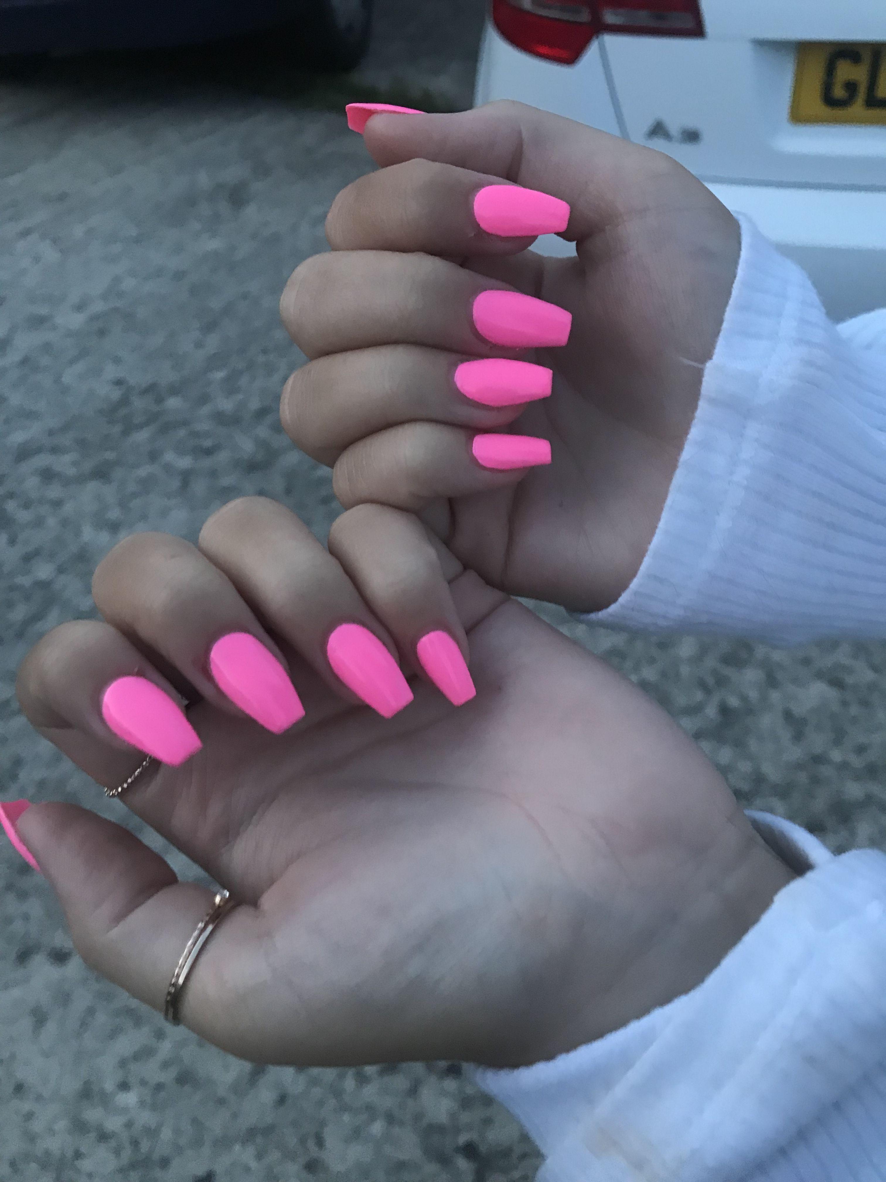 Neon Pink Acrylic Nails Baby Pink Nails Acrylic Pink Acrylic Nails Neon Acrylic Nails