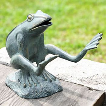 garden frog statue. Leaping Garden Frog Statue-Frog Décor Available At AllSculptures.com Statue