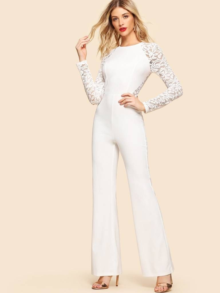 2e2f7120868c White Lace Sleeve Jumpsuit in 2019