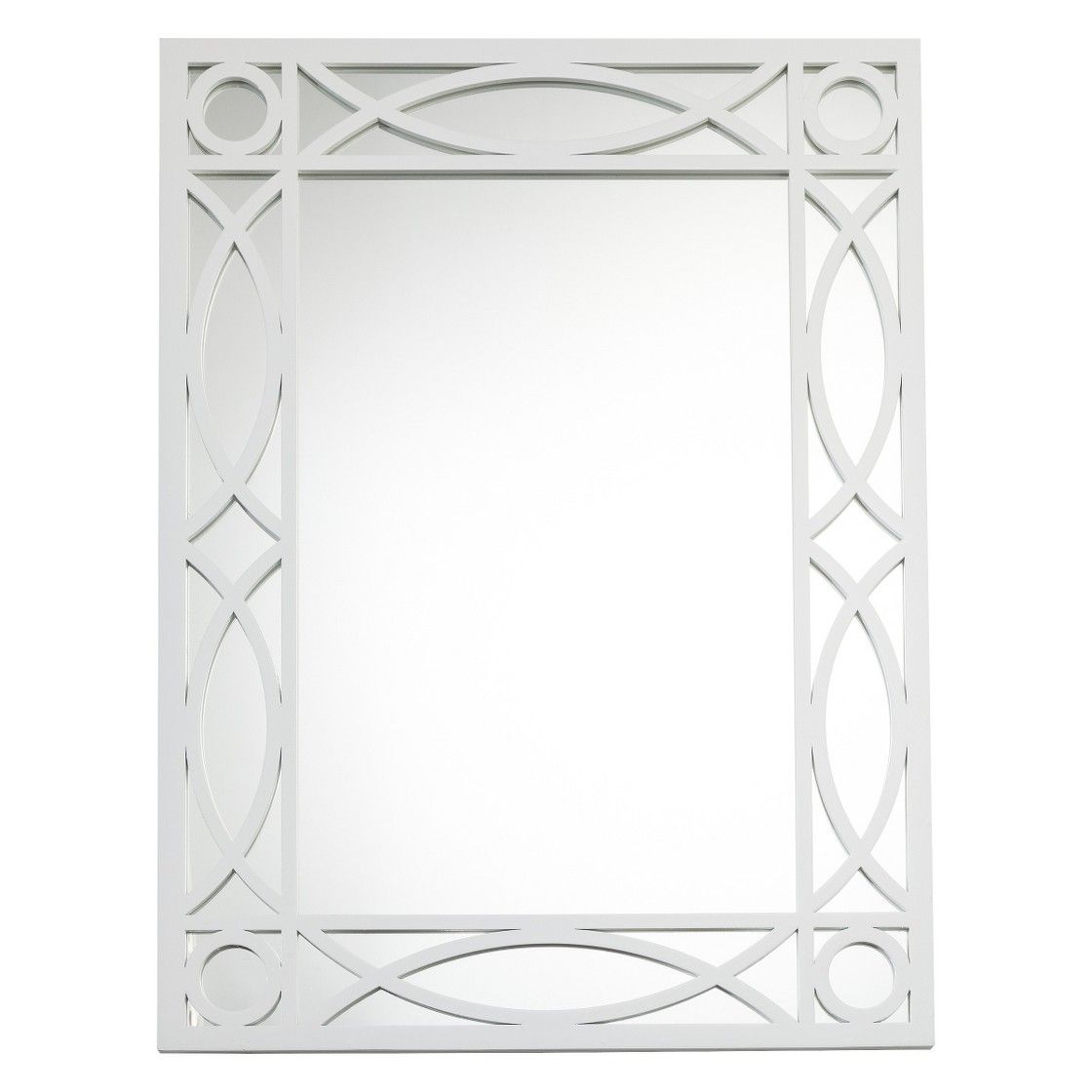 Threshold� Patterned Wall Mirror - White