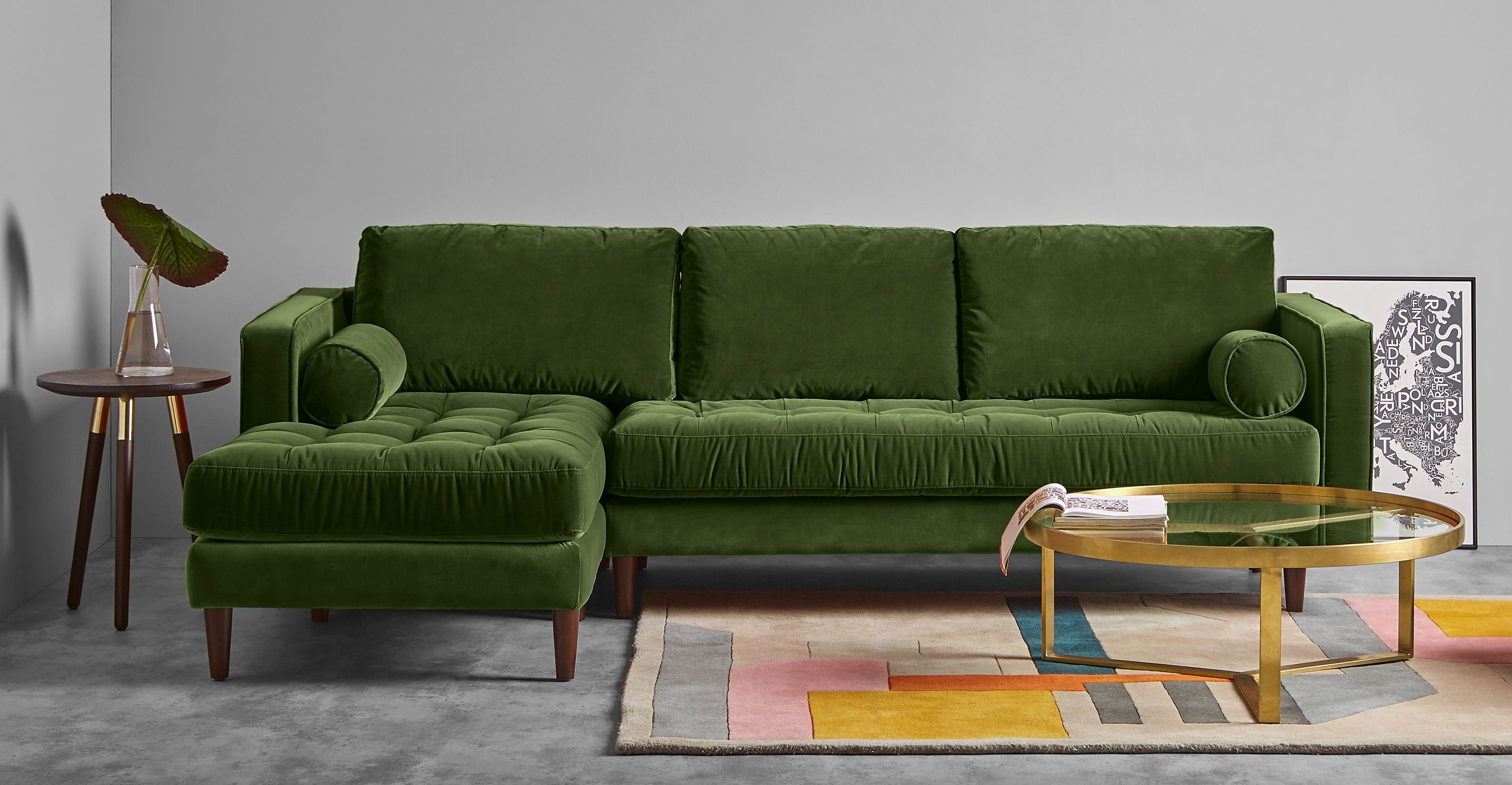 Fantastisch Scott Ecksofa (Récamiere Links), Samt In Grasgrün | Made.com
