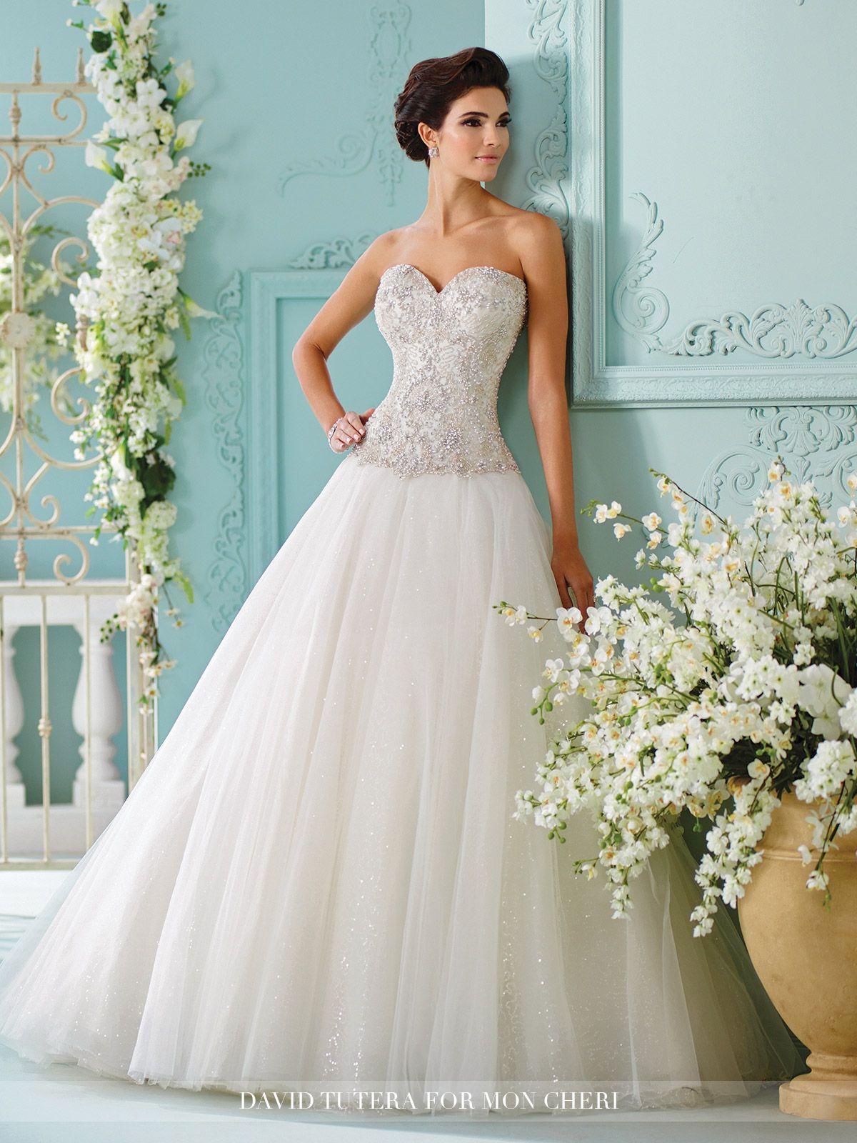 Strapless tulle with swarovski crystals wedding dress saphia