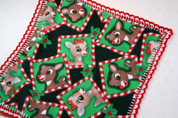 Rudolph and Clarice 18x18 Crochet Edge Fleece Baby by MonaSewingTreasures