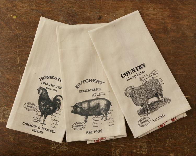 Farmhouse Kitchen Towels Farm Towels Pig Rooster Chicken Cow Towels Black Tan To