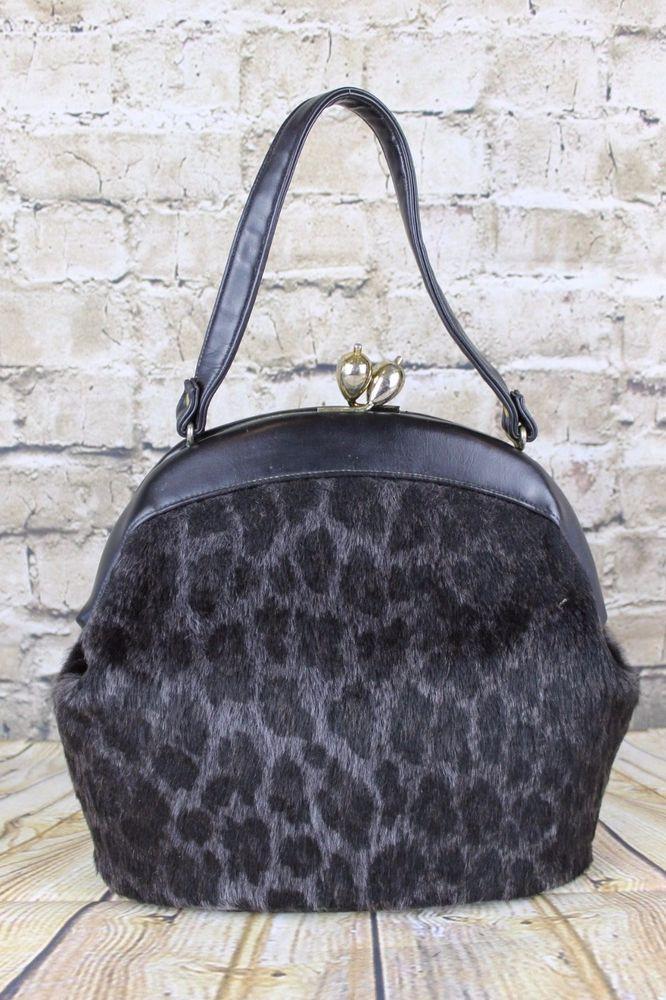 Vintage Ingber 1950s Xl Leopard Faux Fur Oversize Kiss Lock Clasp Handbag Bag Ebay