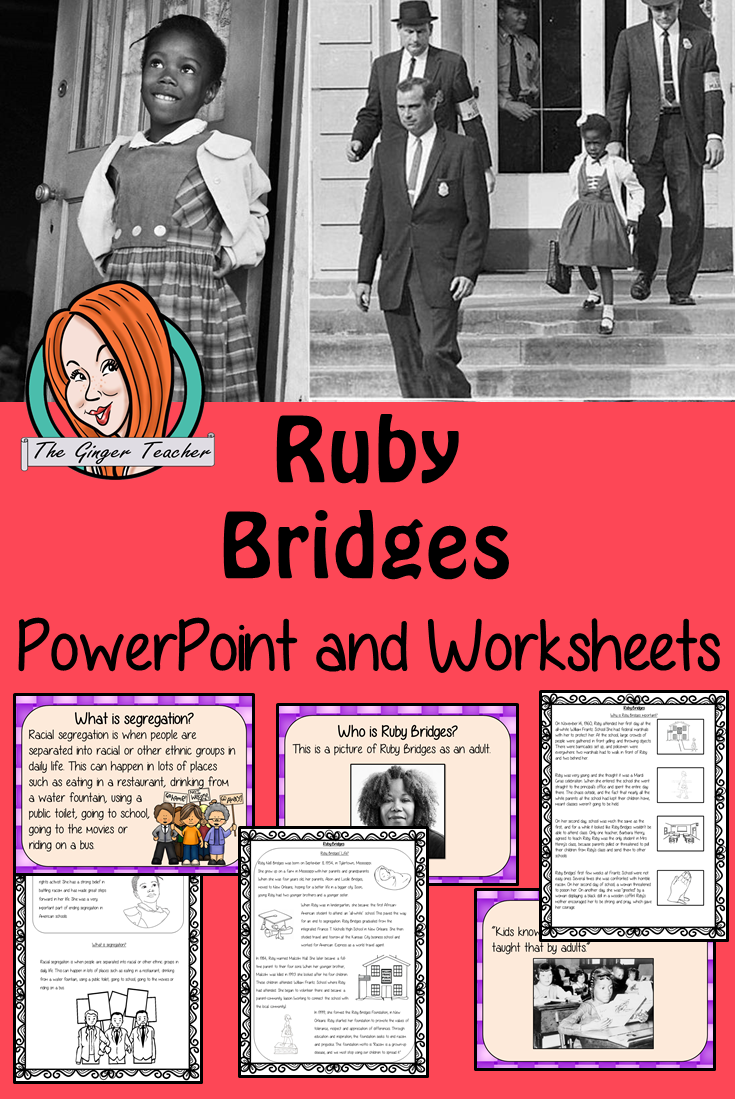 Ruby Bridges Powerpoint And Worksheets Lesson Ruby Bridges Black History Month Lessons Black History Month Projects [ 1099 x 735 Pixel ]