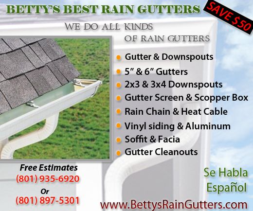 Rain Gutter Repair Installation Salt Lake City Soffits Fascias Betty S Low Price Gutters