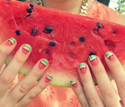 diy nail art, watermelon nail art, nail tutorial Summer Nail Designs, Short  Nail - Summer Nail Designs For Short Nails Nail Art Pinterest Nail