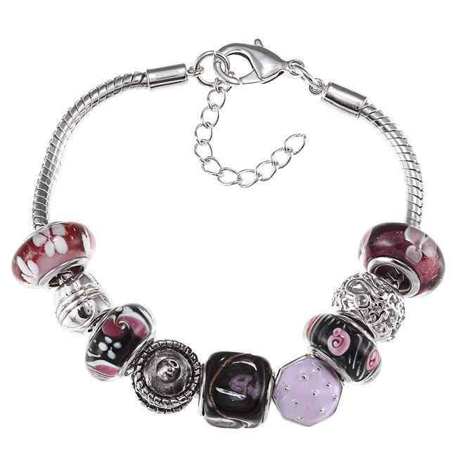 La Preciosa Silvertone Purple and Black Glass Cupcake Charm Bracelet, Women's