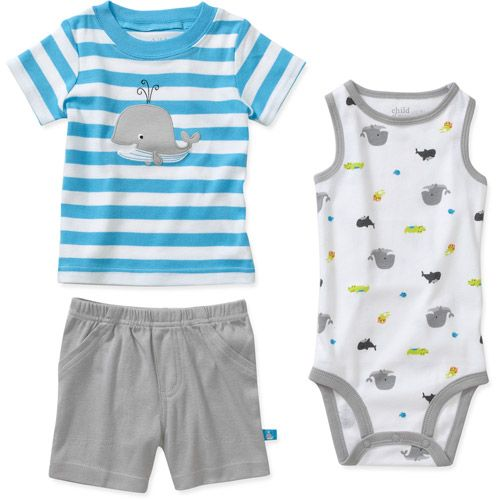 Child of Mine by Carters Newborn Boys 3 Piece Whale Shirt