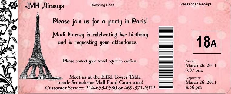 paris passport birthday invitation for a travel theme