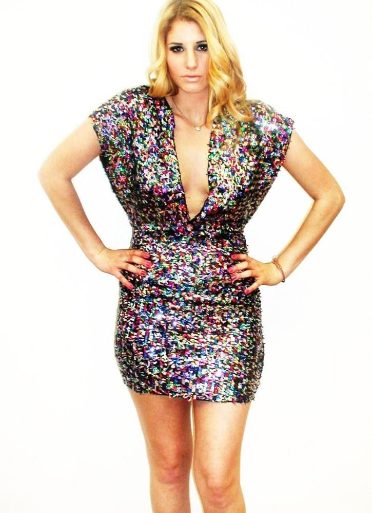 Kami Shade Plus Size Red Blu Technicolor Sequin Deep V Party Dress ...
