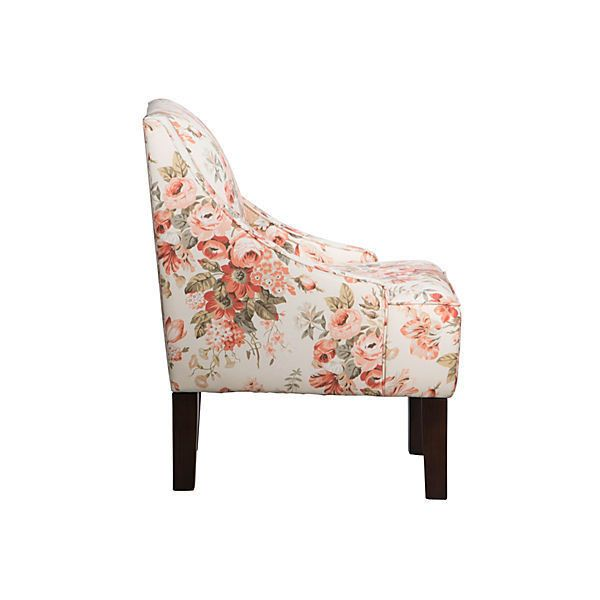 Fletcher Swoop Arm Chair Pink Floral Accent Occasional Chairs