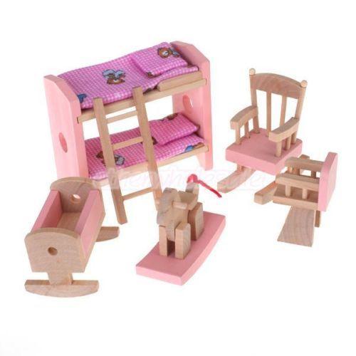 Maison DE Poupées Meuble EN Bois Jouet DE Chambre D\'Enfants | eBay ...