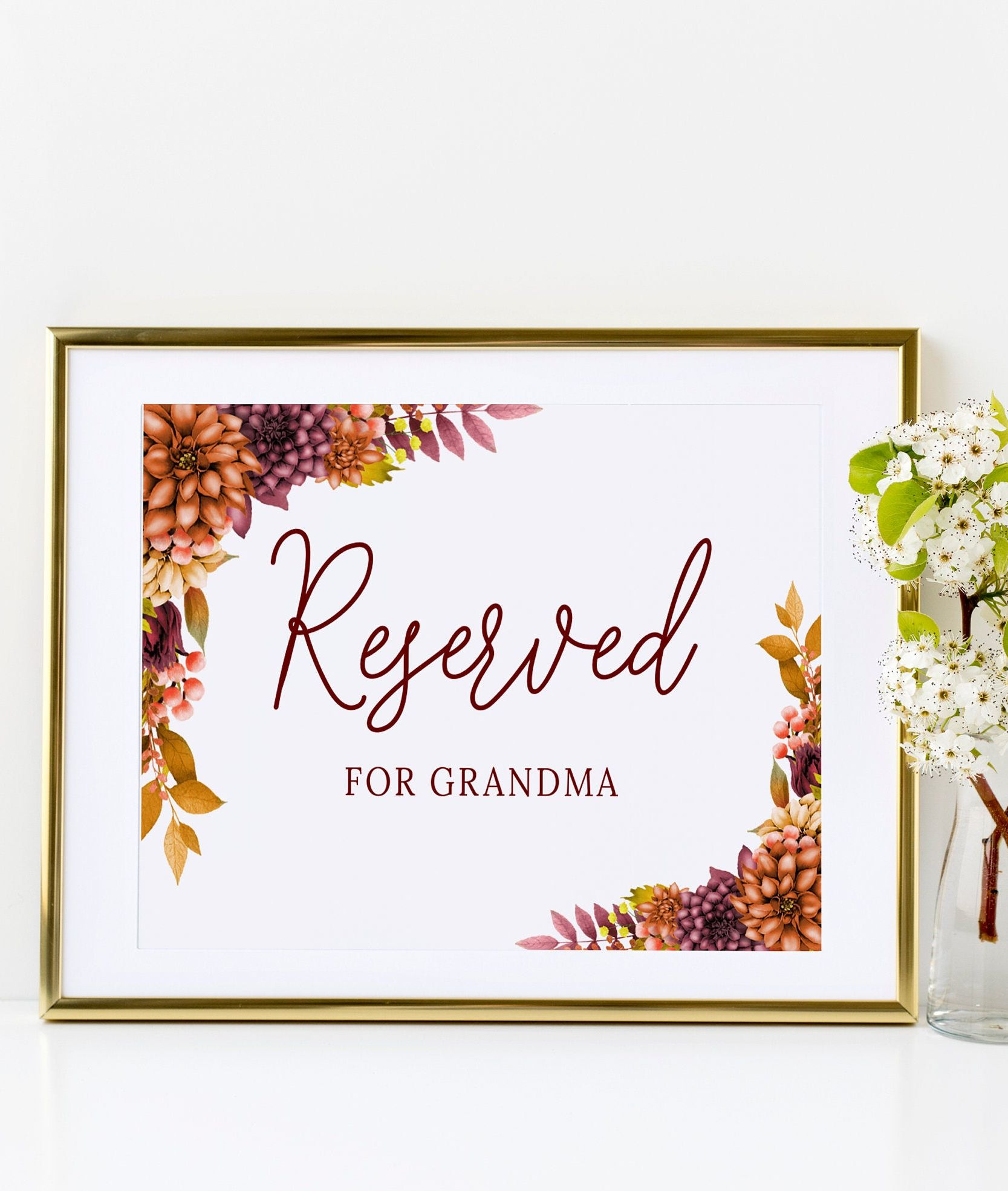 Fall Wedding Reserved Table Sign Template Printable Reserved Etsy Fall Wedding Decorations Sign Templates Wedding Signs