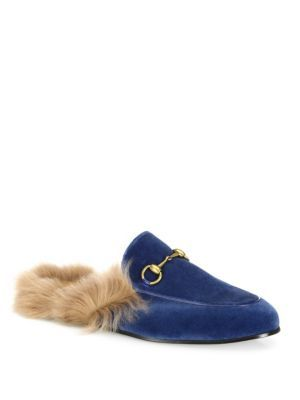 GUCCI Princetown Fur & Velvet Slippers. #gucci #shoes #flats