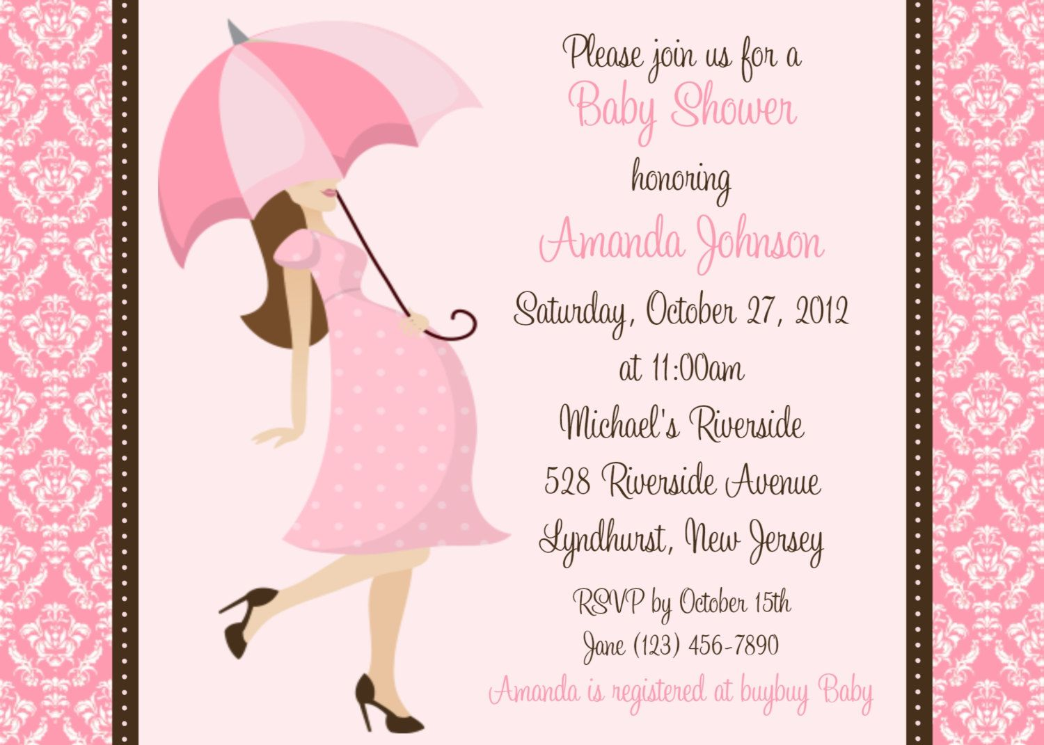 Damask Baby Shower Invitation Girl Baby Shower print your own