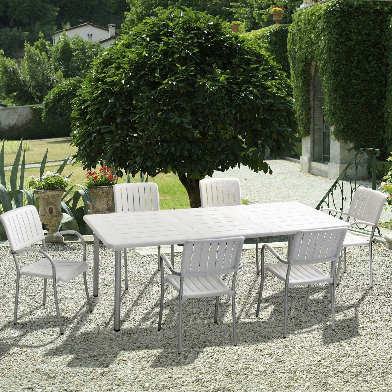 Salon de jardin Maestrale résine (plastique) blanc, 6 ...